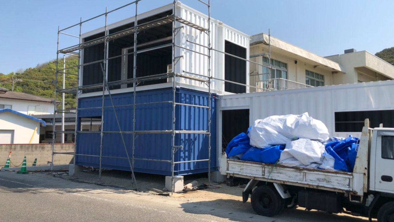 小豆島でコンテナハウスの建設を開始